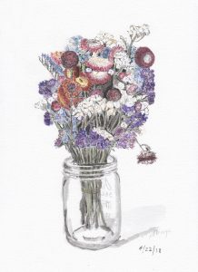 Mixed Cut Flowers in Glass Jar 2018-04-22